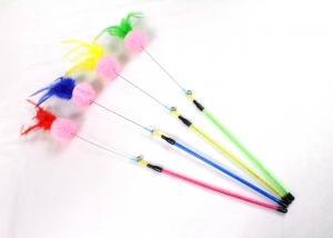 Colorful Feather Cat Toy Rod with Ball