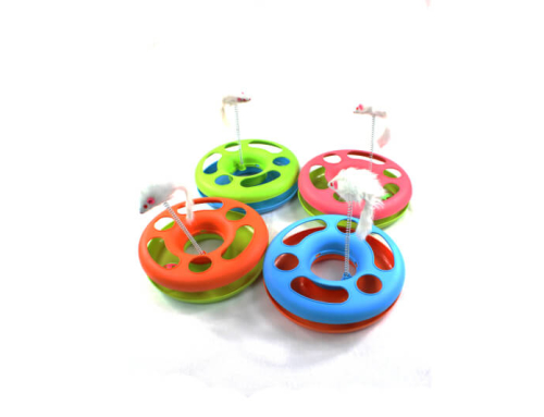 Circle Cat Toy with Rolling Ball and String Mouse