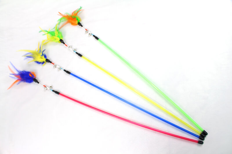 Colorful Pet Products Feather Teaser Wand Toy for Cat