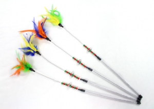 Fishing Pole Style Cat Teaser Toys with Bell and Feather
