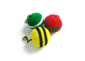 Knitted Ball Cat Toy with Catnip and Bell