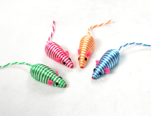 Striped Rope Mice Kitten Toy with Little Rocks Inside