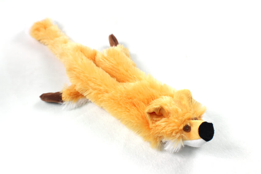 Plush Fox Stuffing Free Soft Dog Toy