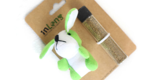 Refillable Plush Bunny with Catnip Toy Set