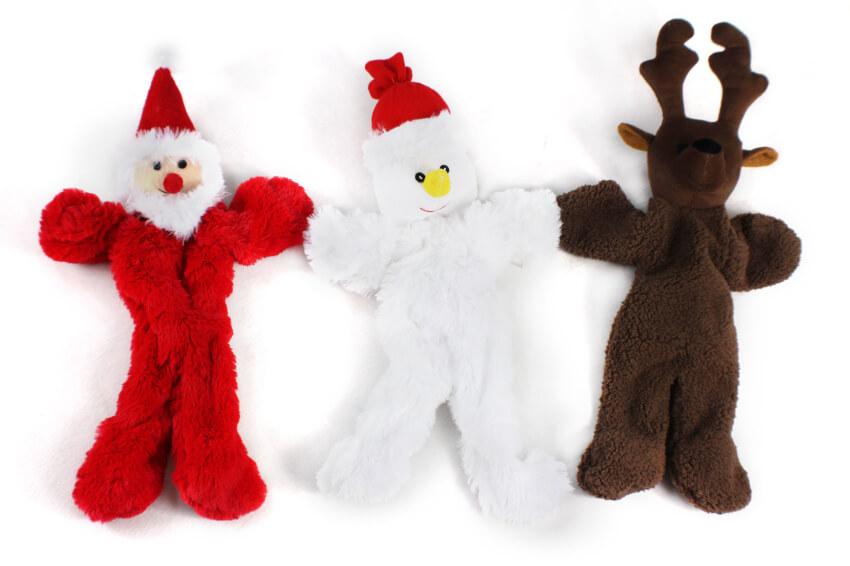 Christmas Plush Dog Toy with Tug Rope