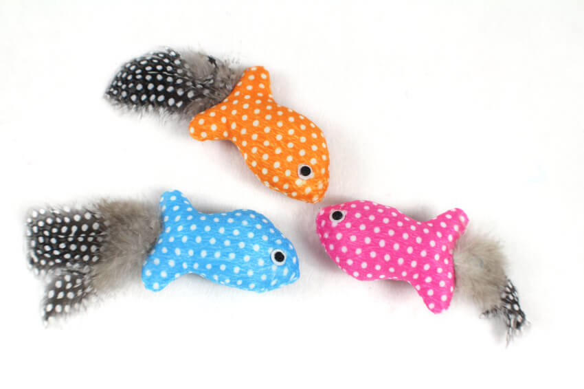 Polka Dot Fish Cat Toy with Feather Tail