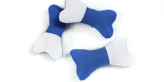 2-Color Soft Stuffed Bone Dog Toy with Squeaker