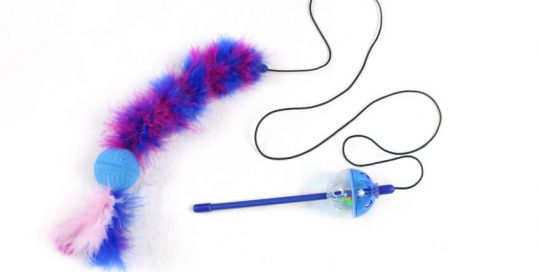Feather Cat Teaser Stick with 2 Balls