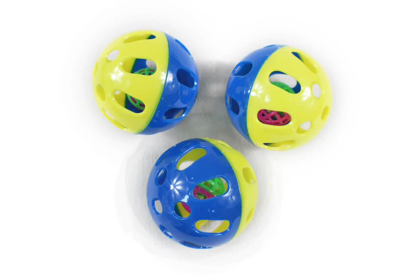 Small Toy Balls : Plastic perforated ball within a small cat toy inlong