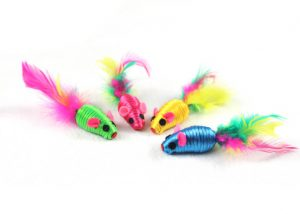 Striped Rope 2'' Cat Toy Mice with Feather
