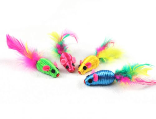 """Striped Rope 2"""" Cat Toy Mice with Feather"""
